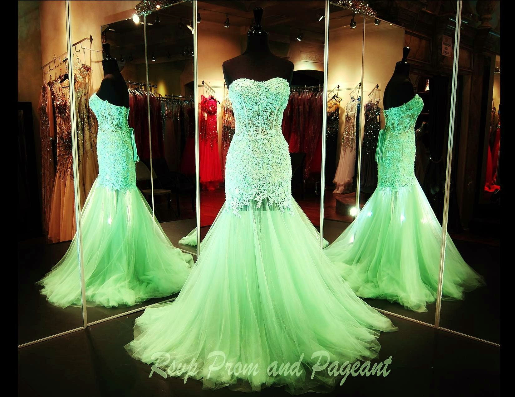 Strapless mint and lace mermaidvpcya prom pageants and