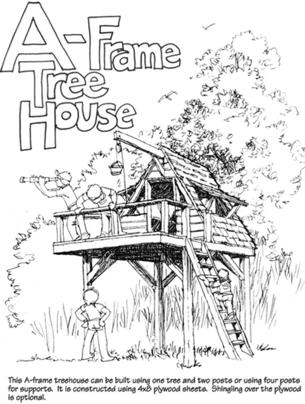 simple free standing tree house plans
