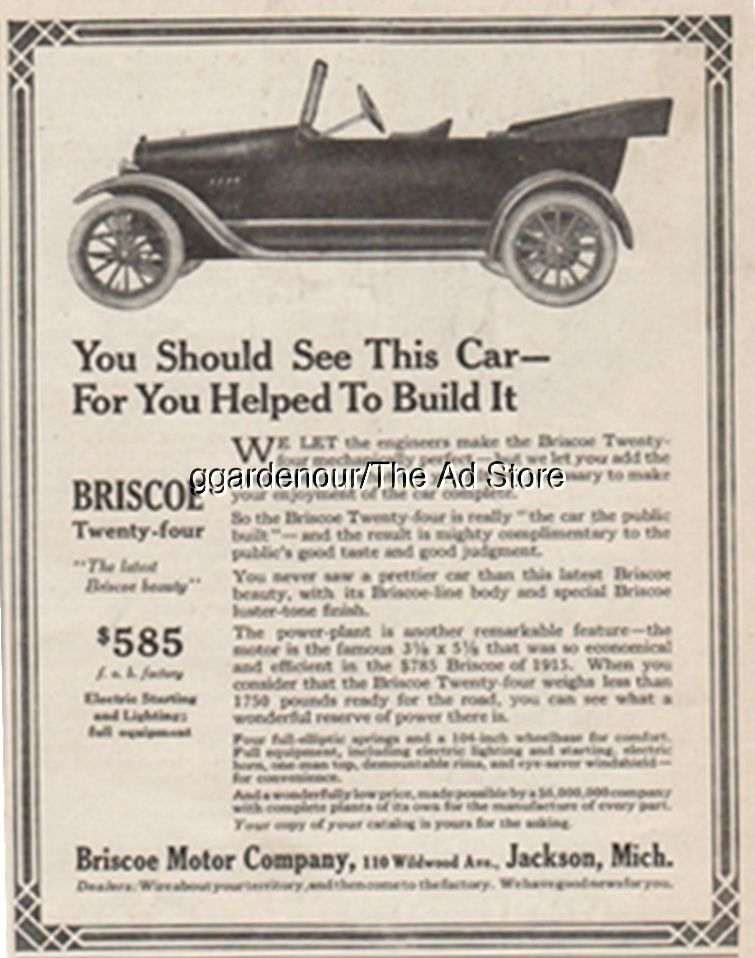1916 Briscoe Twenty Four Motor Car Jackson Michigan Antique Open