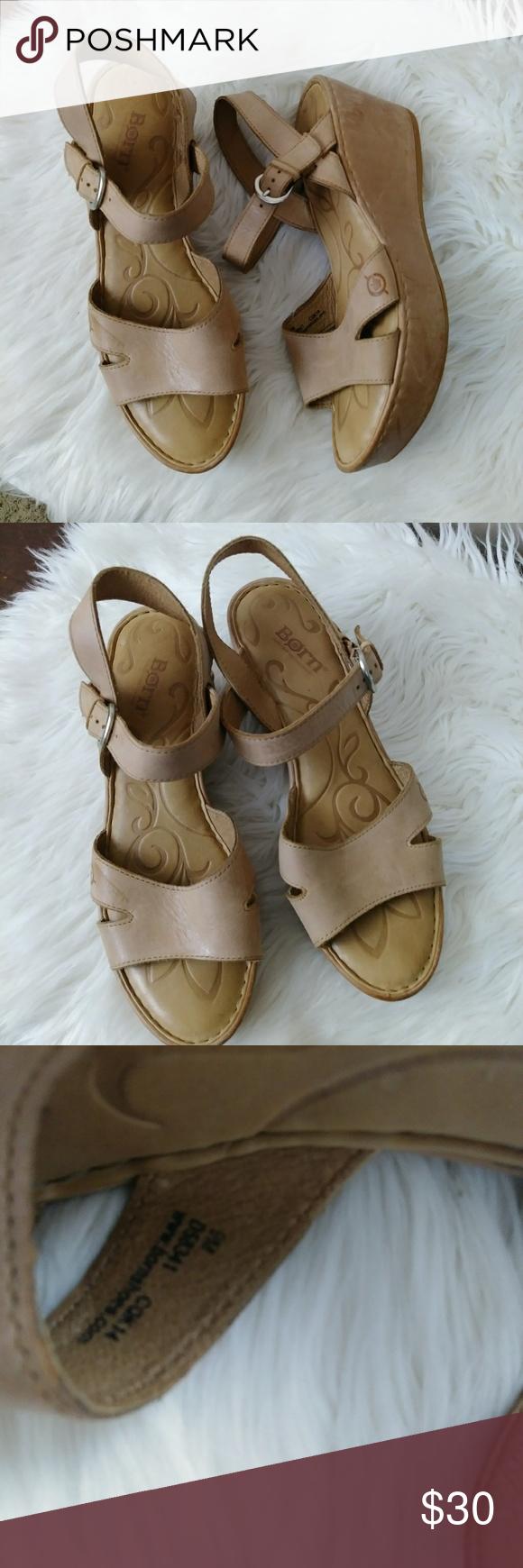 f3c53f906b1 Born tan leather wedge sandals Born light nude tan colored leather block  wedge sandals. Buckle