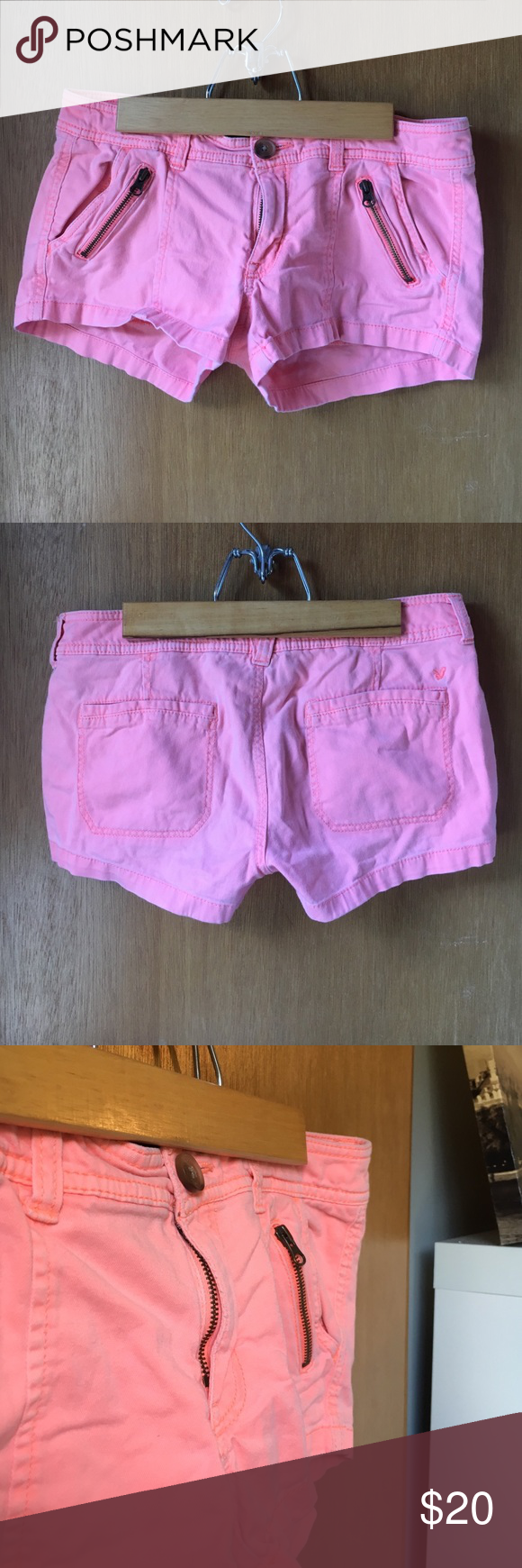 Bright coral shorts Coral shorts with zipper front pockets! The last picture is the closest to the actual color of the shorts American Eagle Outfitters Shorts