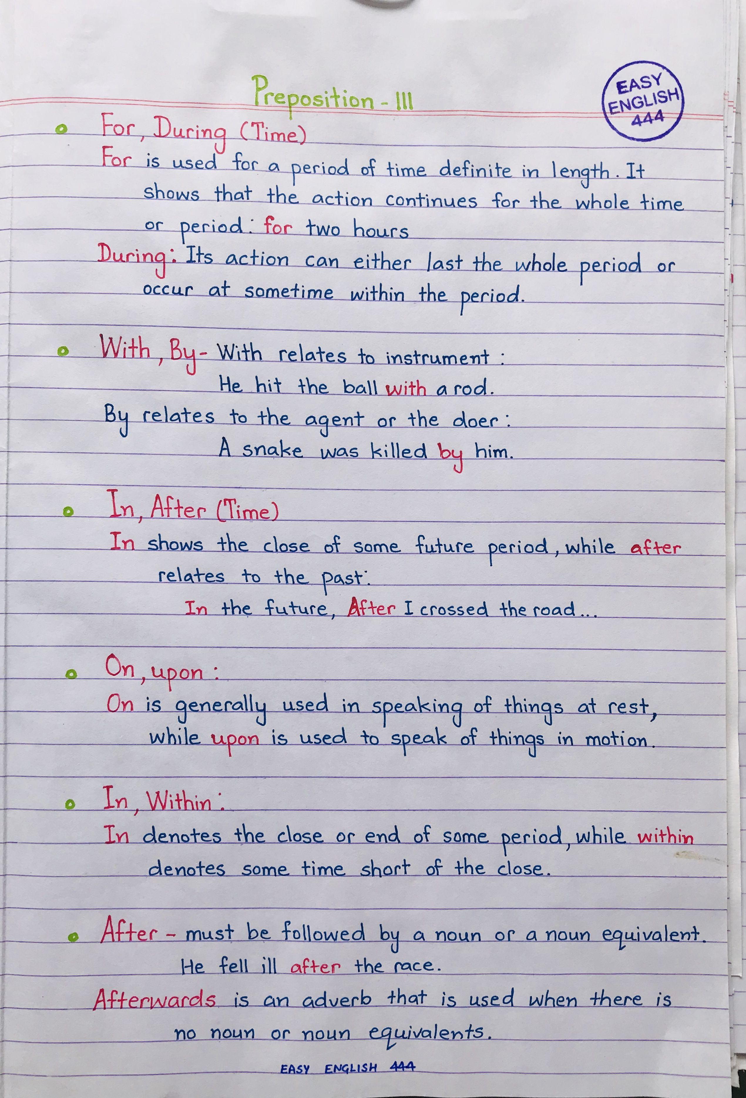 Learn English Grammar Prepositions Handwritten