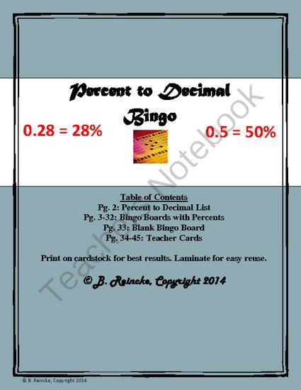 Percent to Decimal Bingo (30 pre-made cards!) from Reincke15 on - best of easy multiplication coloring pages