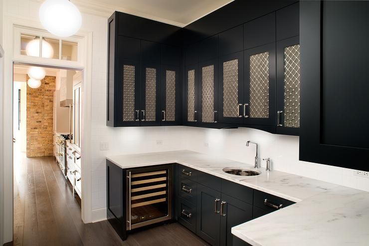 Best Black And White Butler S Pantry Kitchen Cabinets Black 400 x 300