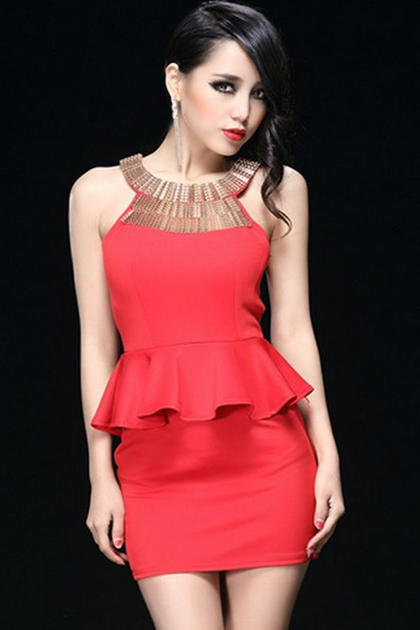 9545f448d3bf Sexy Halter Peplo Vestidos de Fiesta | Clothes | Dresses, Peplum ...