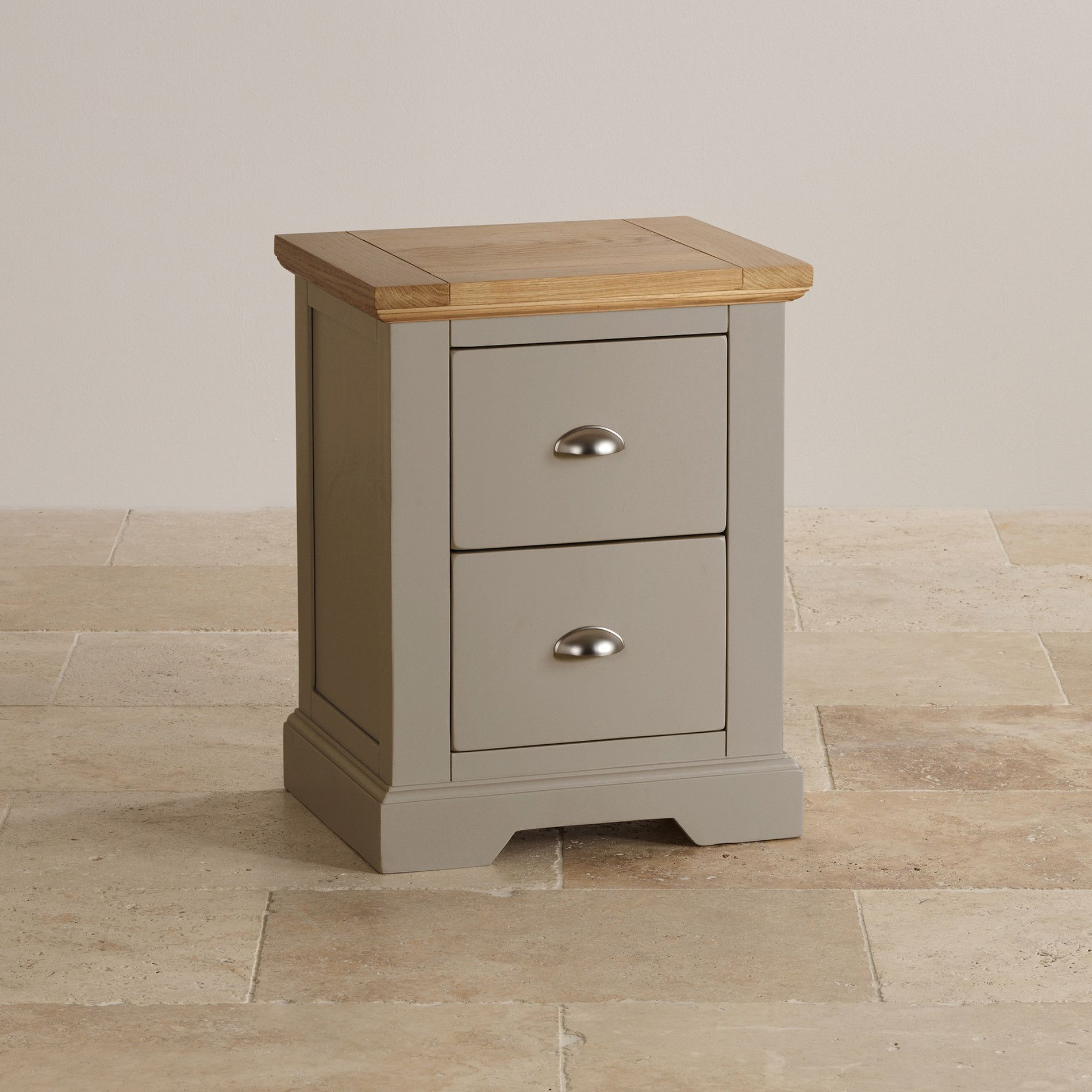 St Ives Natural Oak and Light Grey Painted 2 Drawer Bedside Table & St Ives Natural Oak and Light Grey Painted 2 Drawer Bedside Table ...
