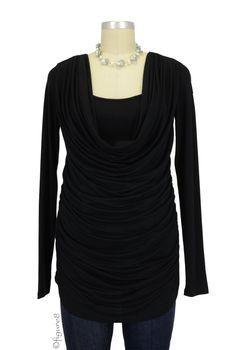 Mandy Cowl Neck Nursing Top in Black