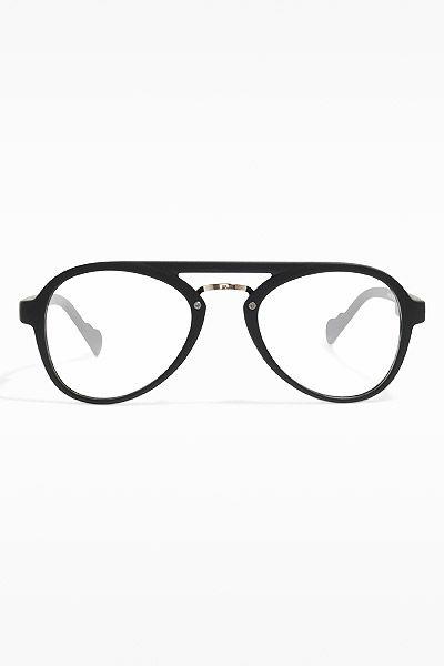 a5b573348f Darby  Plastic Flat Top Clear Aviator Glasses - Matte Black - 5427-2 ...