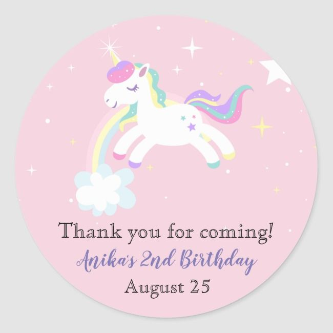 Pink Unicorn Stars Rainbow Glitter Girls Birthday Classic Round Sticker |  Pink Unicorn Stars Rainbow Glitter Girls Birthday Classic Round Sticker