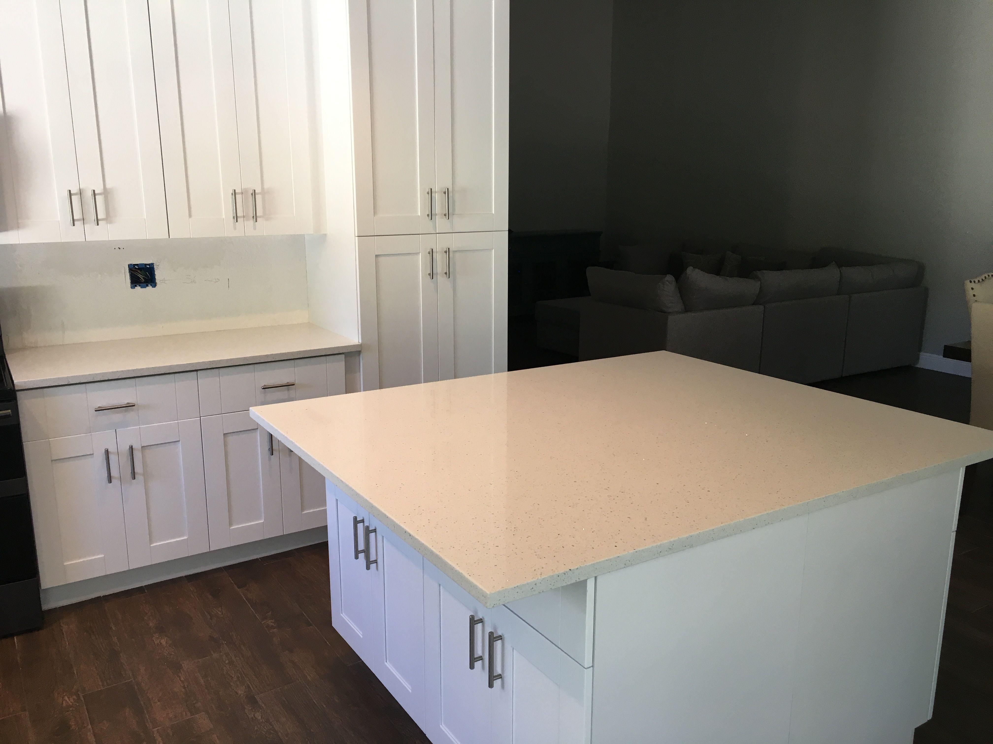 White Quartz Kitchen Countertops White Cabinets And White Quartz