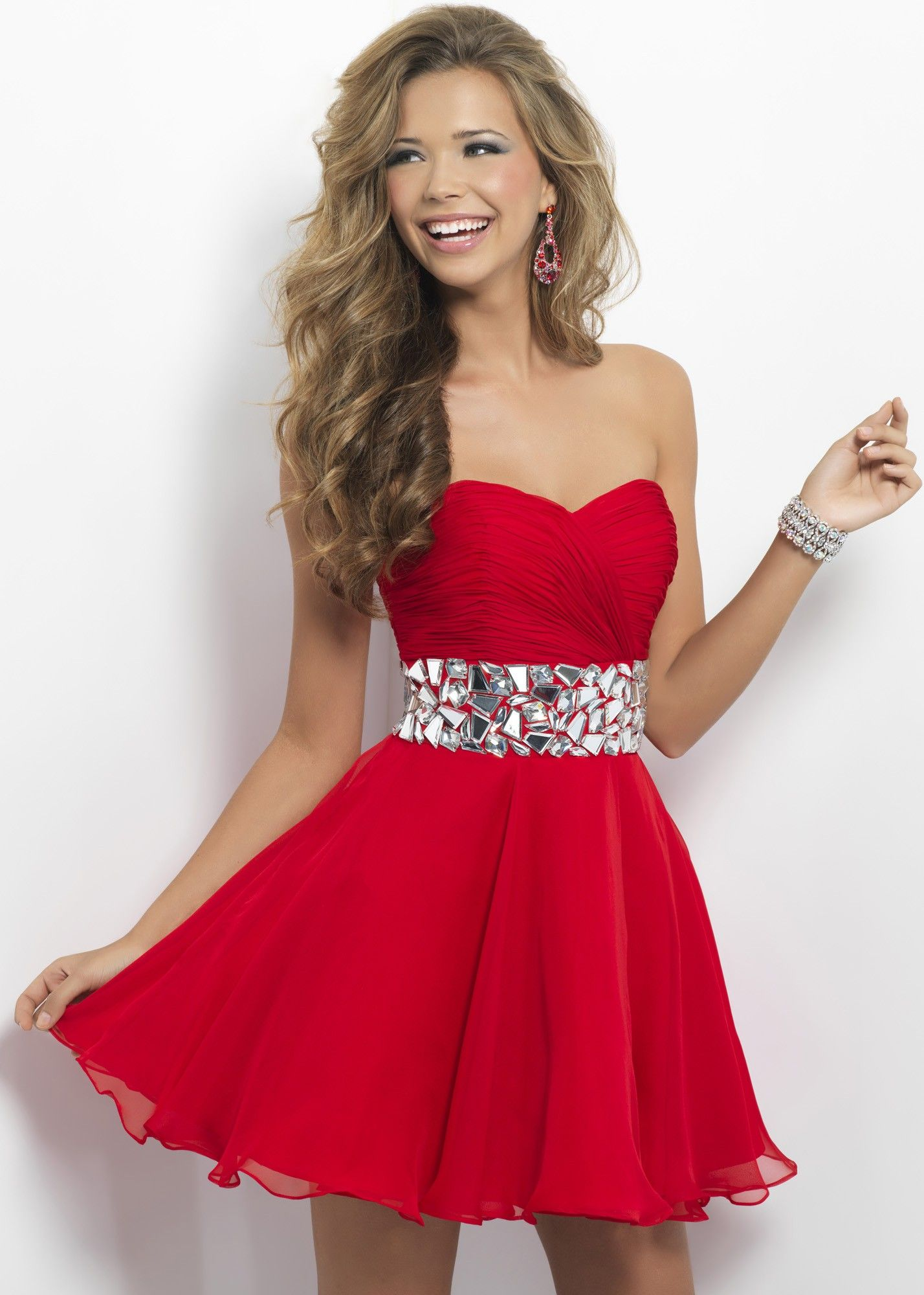 Blush Prom 9683 Cute Red Strapless Dress with a Sweetheart ...