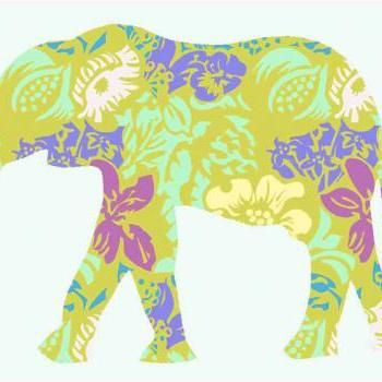 Elephant Fabric Wall Decals with Flower pattern for Nursery