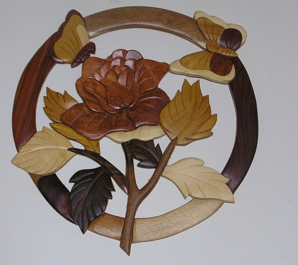 Rose and butterflies wall hanging intarsia wood only wood