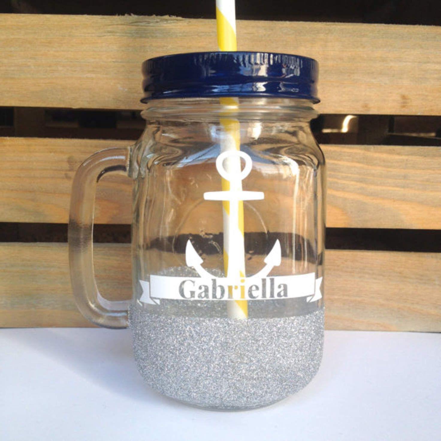 Mason Jar Tumbler - Personalized Silver Glitter Mason Jar Mug, Valentines Gift, Bachelorette Party Glass, Bridesmaids Gift, Sweet 16 Glass