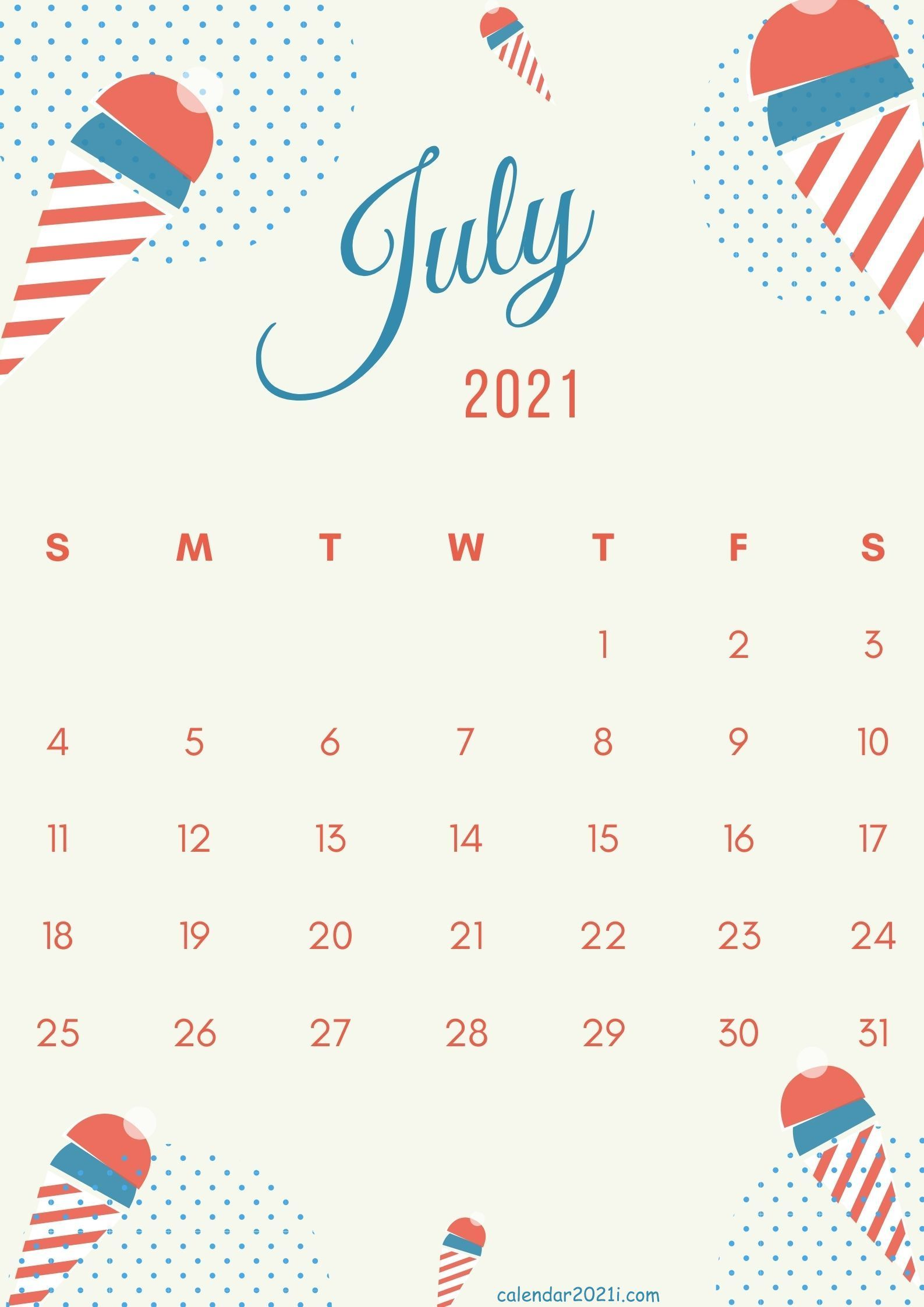 Cute July 2021 calendar design template theme layout free ...