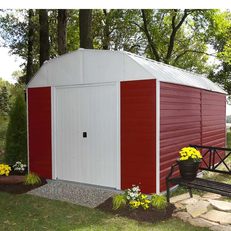 Barn 10 Ft W X 14 Ft D Metal Storage Shed In 2020 Outdoor Sheds Shed Design Shed