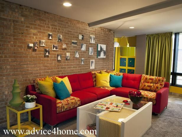 Red sofa design and brown stone wall design with farmes in for Modern living room red