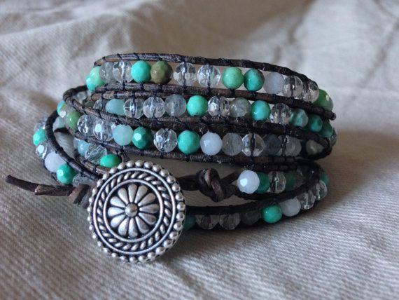 Wrap Bracelet with SemiPrecious Beads by ElizabethPeridot on Etsy, $70.00