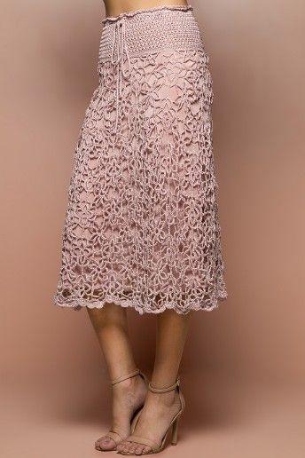 Pearl Velvet Crochet Midi Skirt - Vanessa Montoro - vanessamontorolojausa