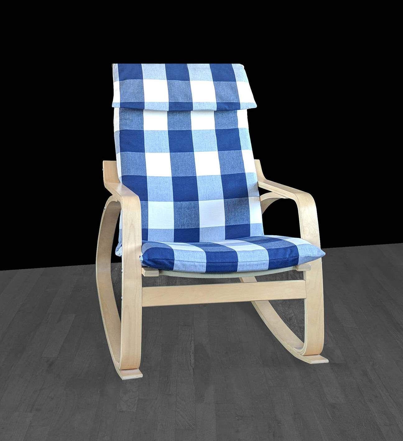 IKEA POÄNG Chair Cover, Buffalo Check Navy Blue in 2020