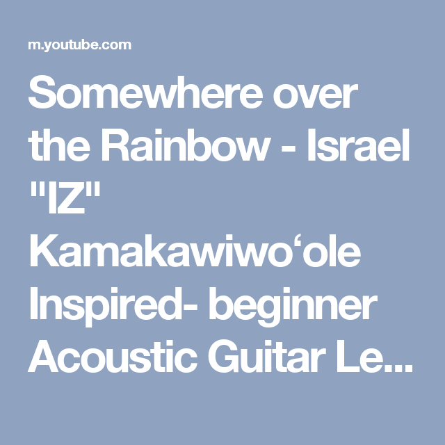 Somewhere over the Rainbow - Israel \