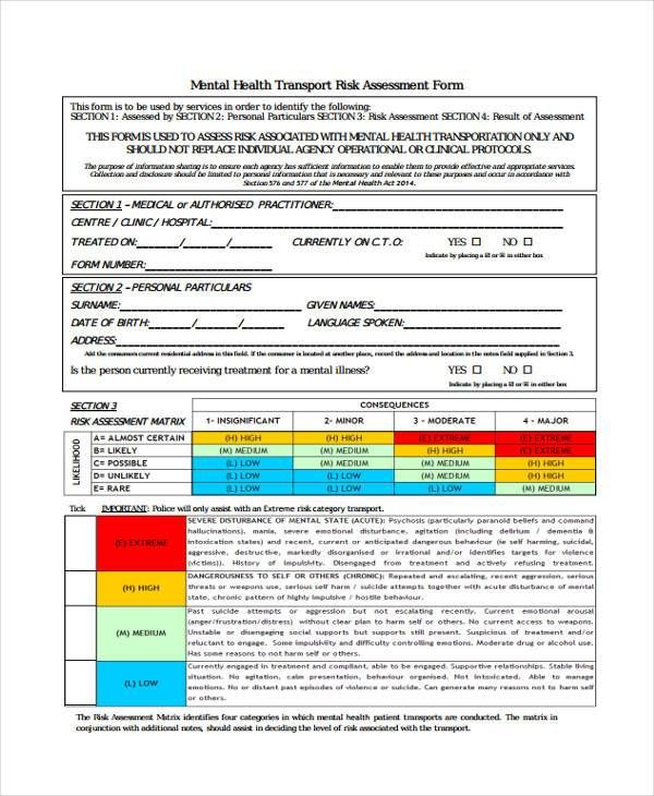 Mental Health Risk Assessment Form   Sample Assessment Form