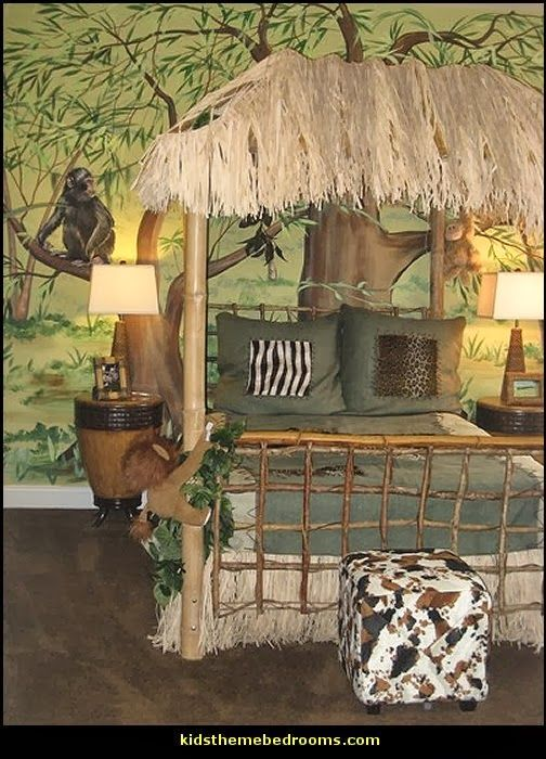 Safari jungle hut decorating theme bedrooms jungle theme for Forest themed bedroom ideas