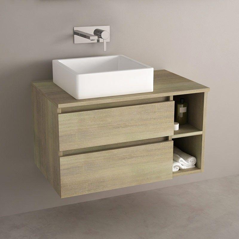 Meuble salle de bain Chêne 80 cm, 2 tiroirs, Terra Salle de bain