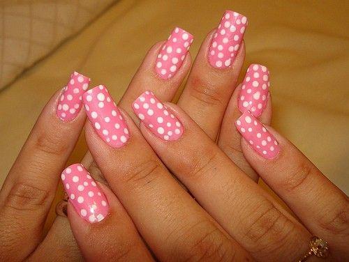 Pink Spotty Nails