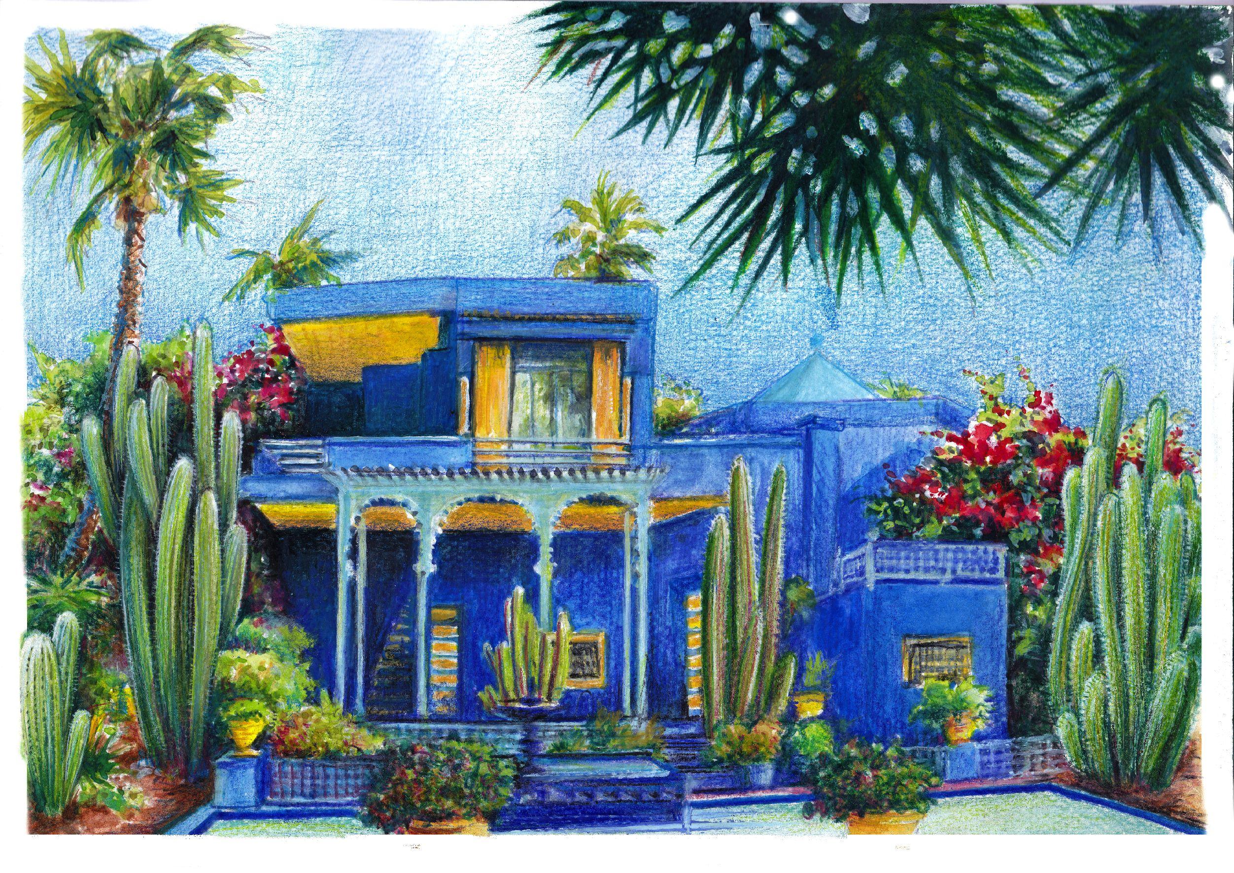Lami Gerard Marrakech La Villa Majorelle Crayons Aquarelles