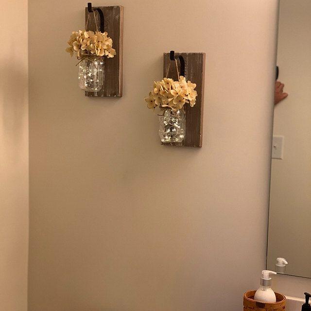 Rustic Home Decor, Set of 2 Mason Jar Sconces, Hanging Mason Jar Sconce,Mason Jar Decor,Wall Sconce,Wall Decor,Mason Jar Sconce with Flowers #masonjarbathroom
