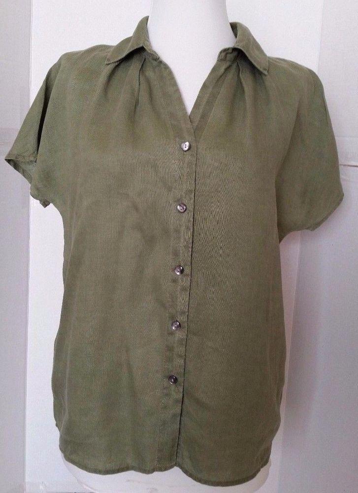 8e8e35e4 J.Jill Short Sleeve Shirt Green 100% Linen Button Down Blouse XS Xsmall  #JJill #ButtonDownShirt #Casual
