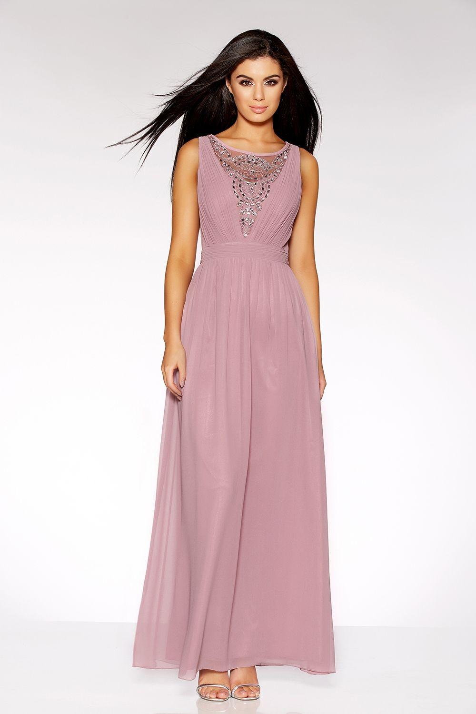 0daba29fa4 Mauve Chiffon Diamante Embelished V Neck Maxi Dress - Quiz Clothing ...
