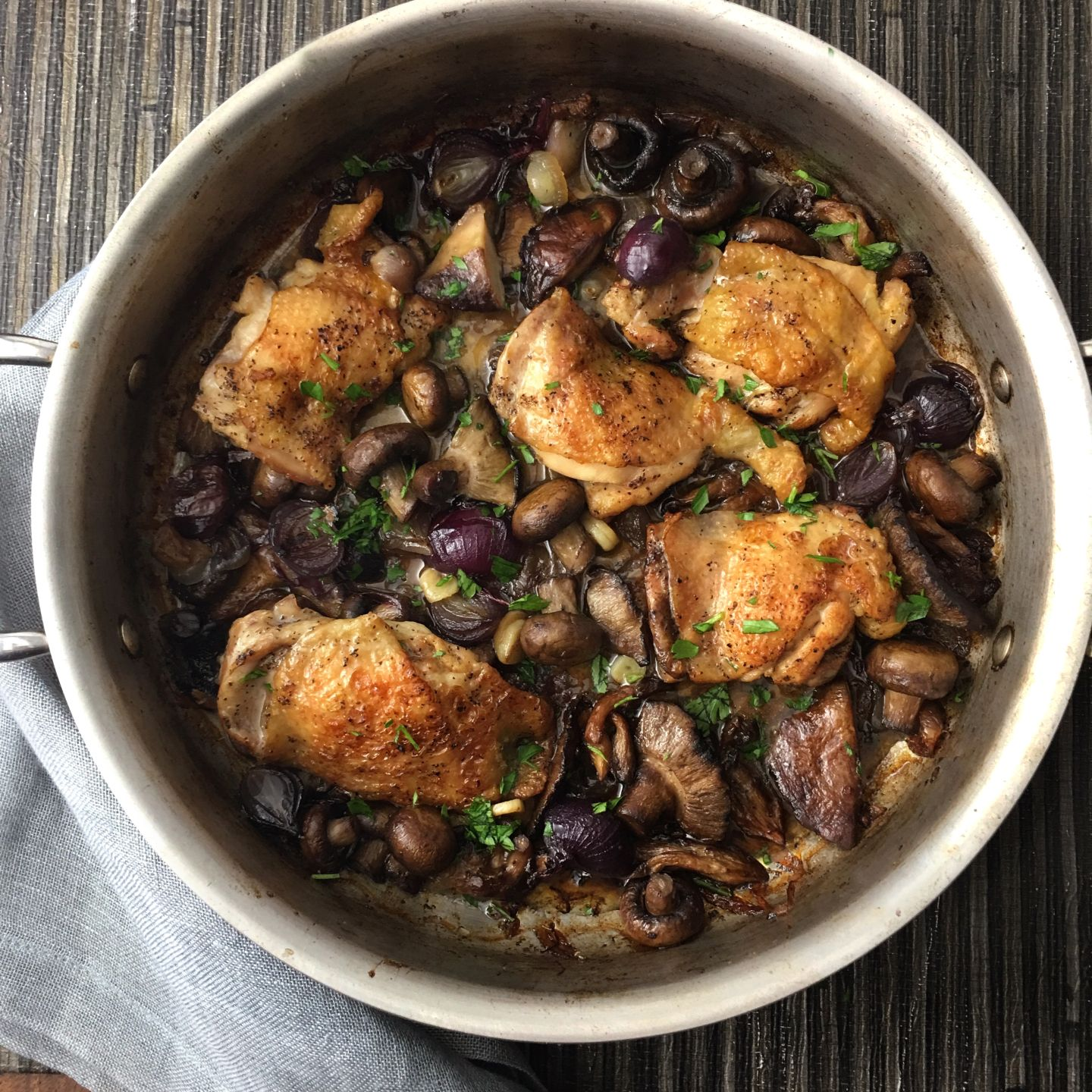 Chicken thighs with mushrooms and shallots inspiration for chicken thighs with mushrooms and shallots inspiration for everyday food made marvelous forumfinder Choice Image