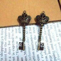 10 pçs/lote 20 * 61 mm liga pingente DIY novos materiais chaves pingente de coroa encantos principais acessórios Vintage loja de atacado grátis frete