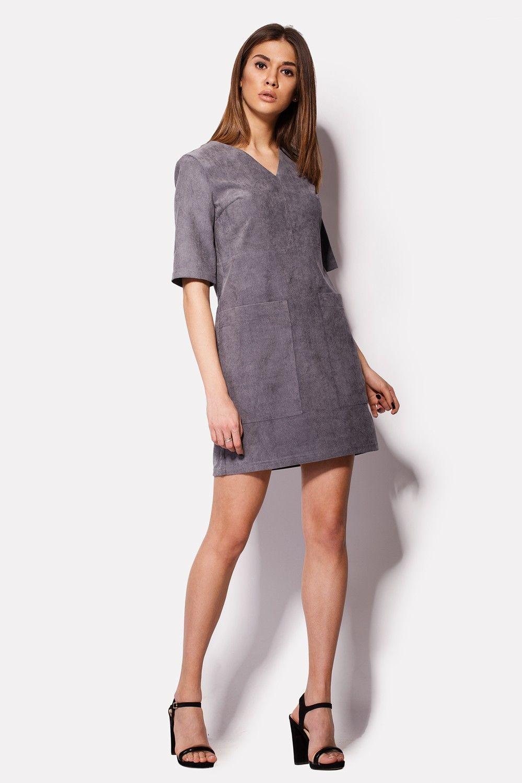 bc614befaa9 Платье SAGA из вельвета серого стального оттенка  продажа
