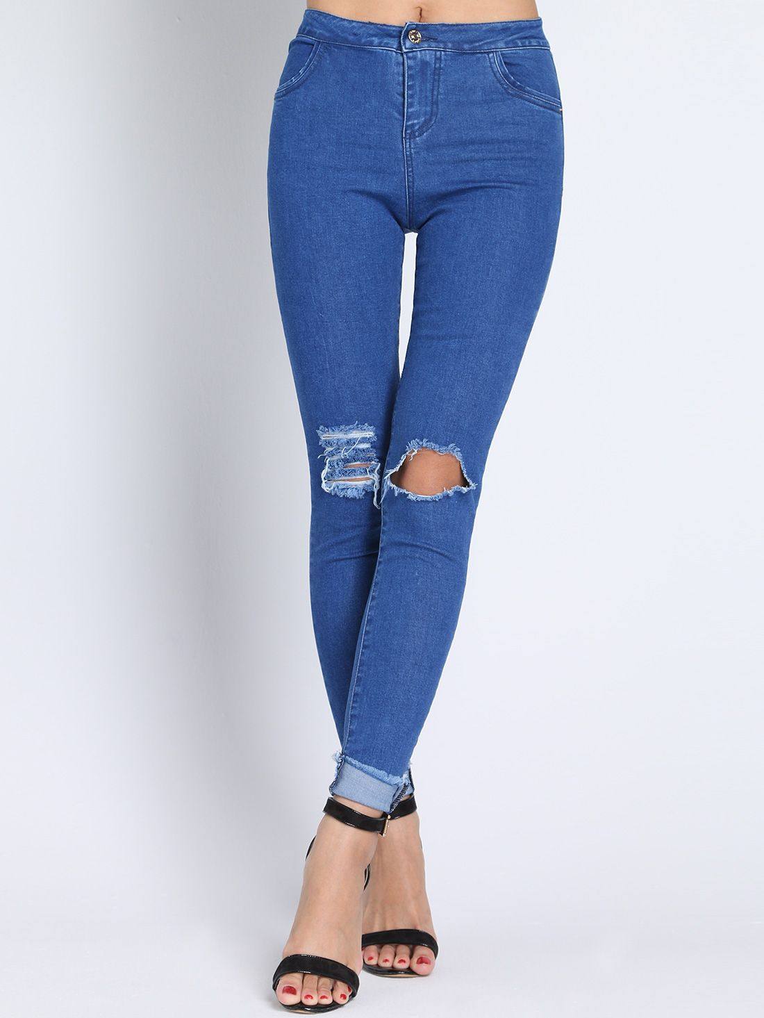 Photo of Blue High Waist Ripped Denim Pant 23.00
