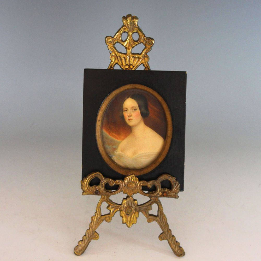 Hand Painted Miniature Portrait of A Lady with Wood Frame and Easel