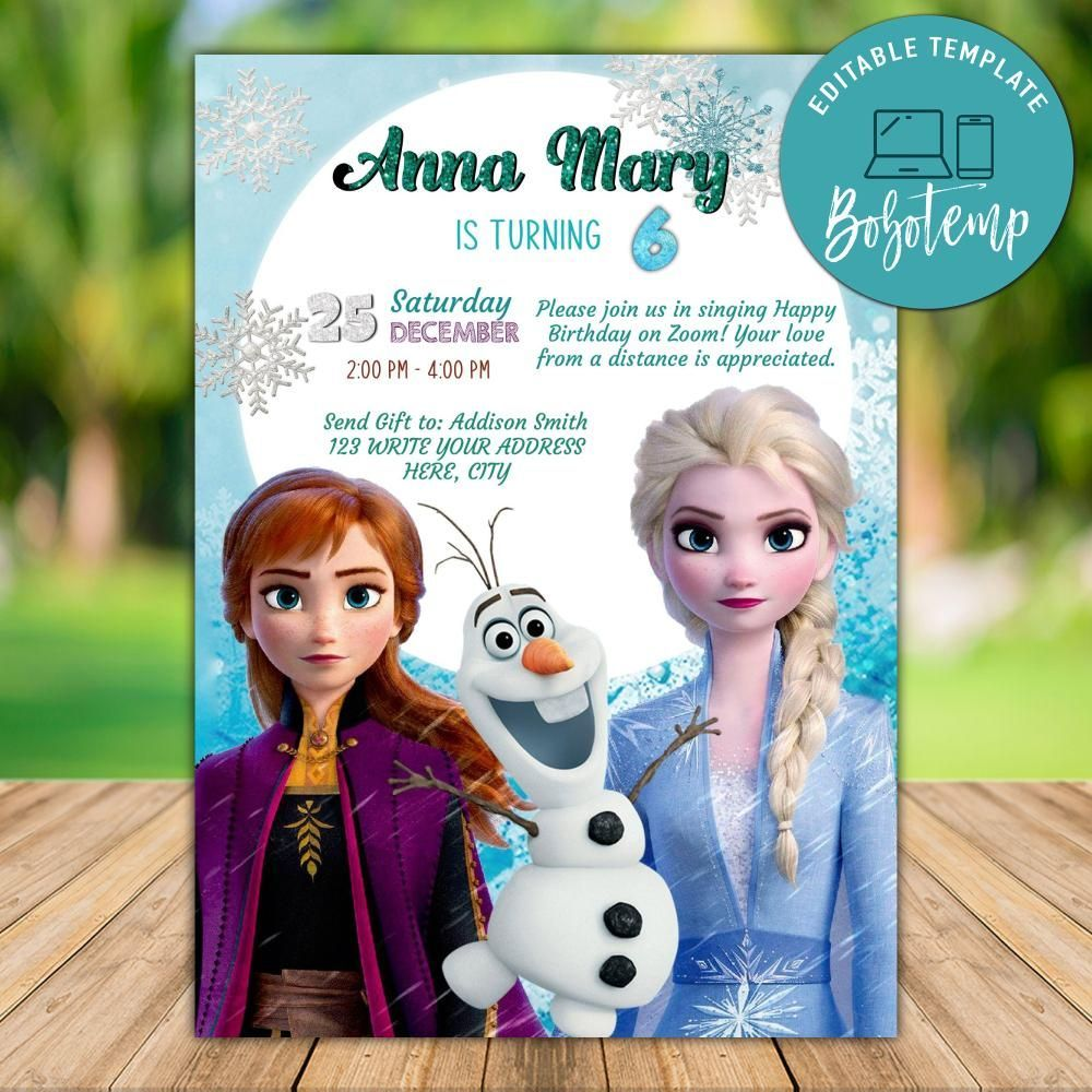 Frozen 2 Elsa Party Invitation Template With Photo Instant Download Frozen 2 Elsa Zoom Birthday Party Video Chat Trong 2020