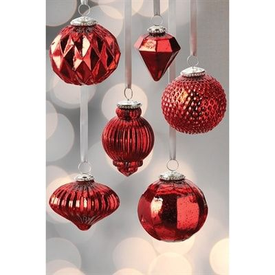 Design Imports Cosd3933 Mercury Ball Ornaments Set Of 6 Metal Ornament Tree Ball Ornaments Christmas Ornaments