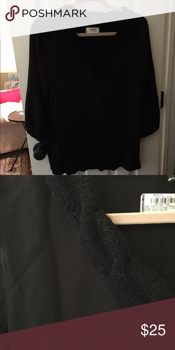 LONGCHAMP Black Silk Top with Wool Collar Trim Black 100% silk blouse with wool knit detail on collar. Size M. Runs true to size. Longchamp Tops Blouses