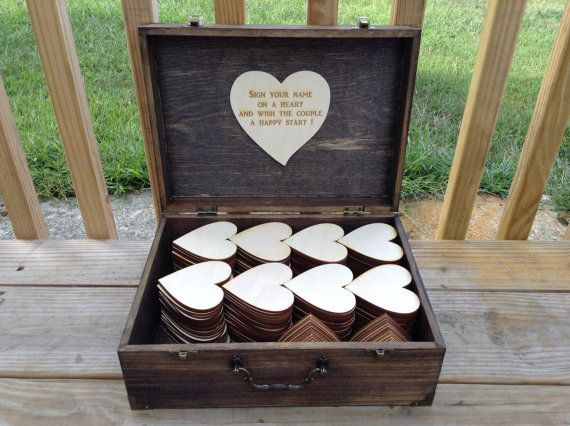Guest book box in Dark Walnut finish with laser cut hearts for your guests to write on <3