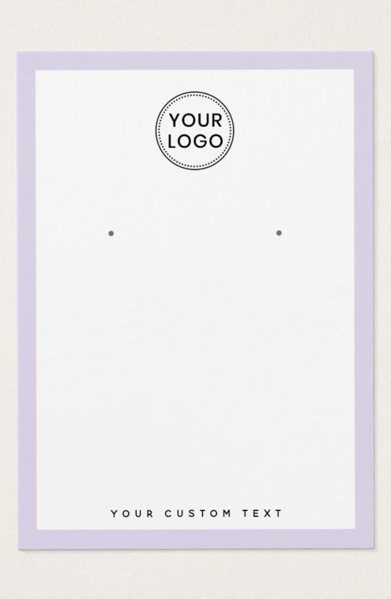 light purple border logo earring display card  zazzle