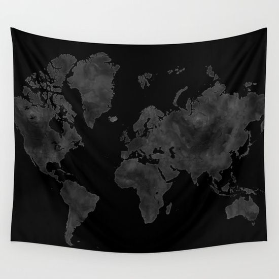 Black and gray watercolor world map coal mine wall tapestry black and gray watercolor world map coal mine wall tapestry gumiabroncs Choice Image