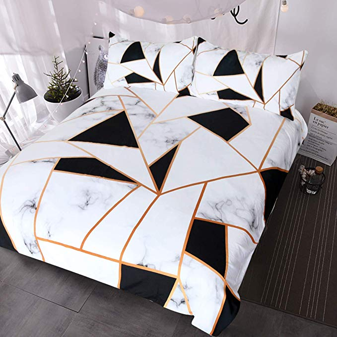 Amazon Com Blessliving Marble Print Bedding White Black Geometric