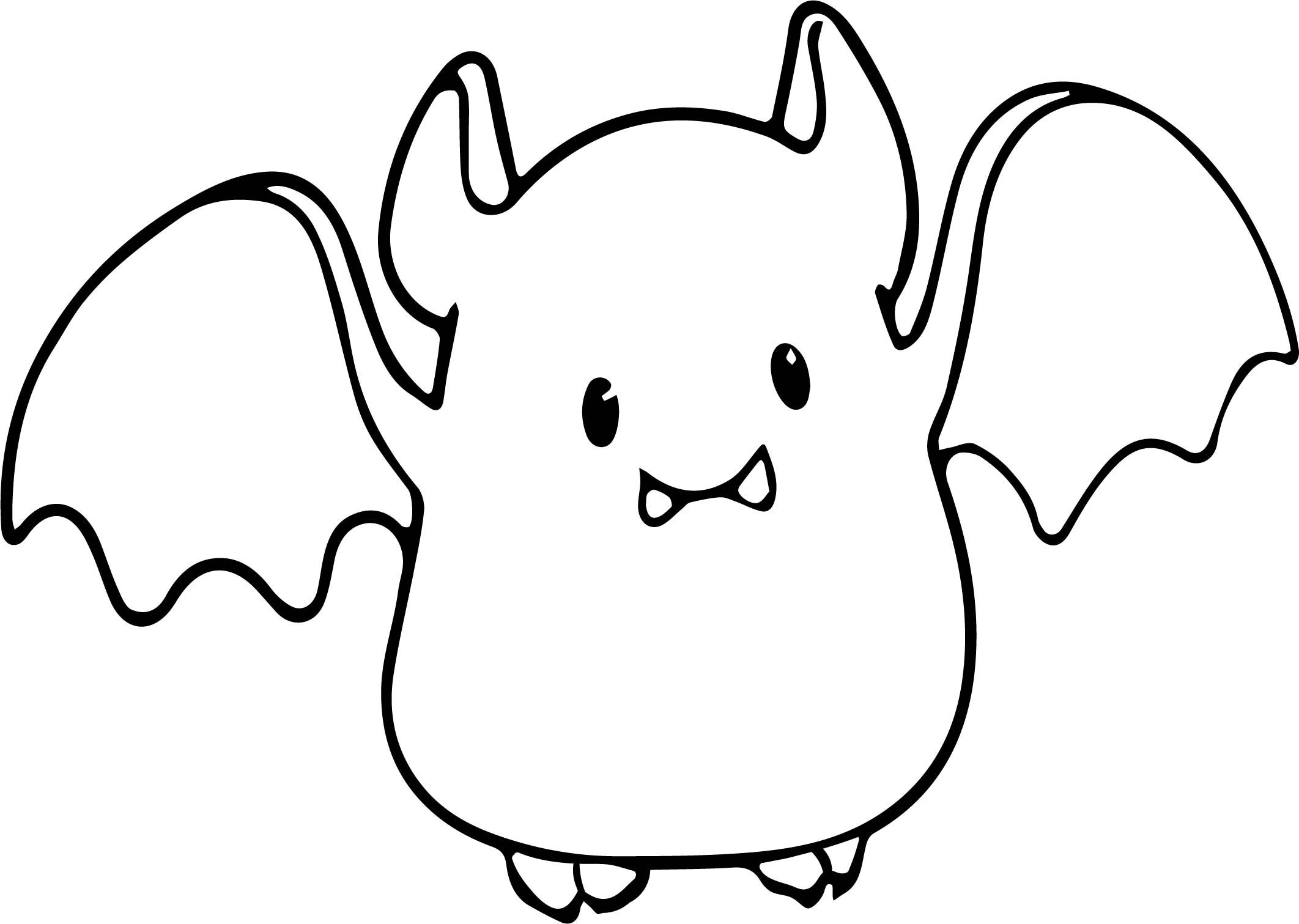 Cool Small Cute Baby Cartoon Vampire Bat Coloring Page Bat
