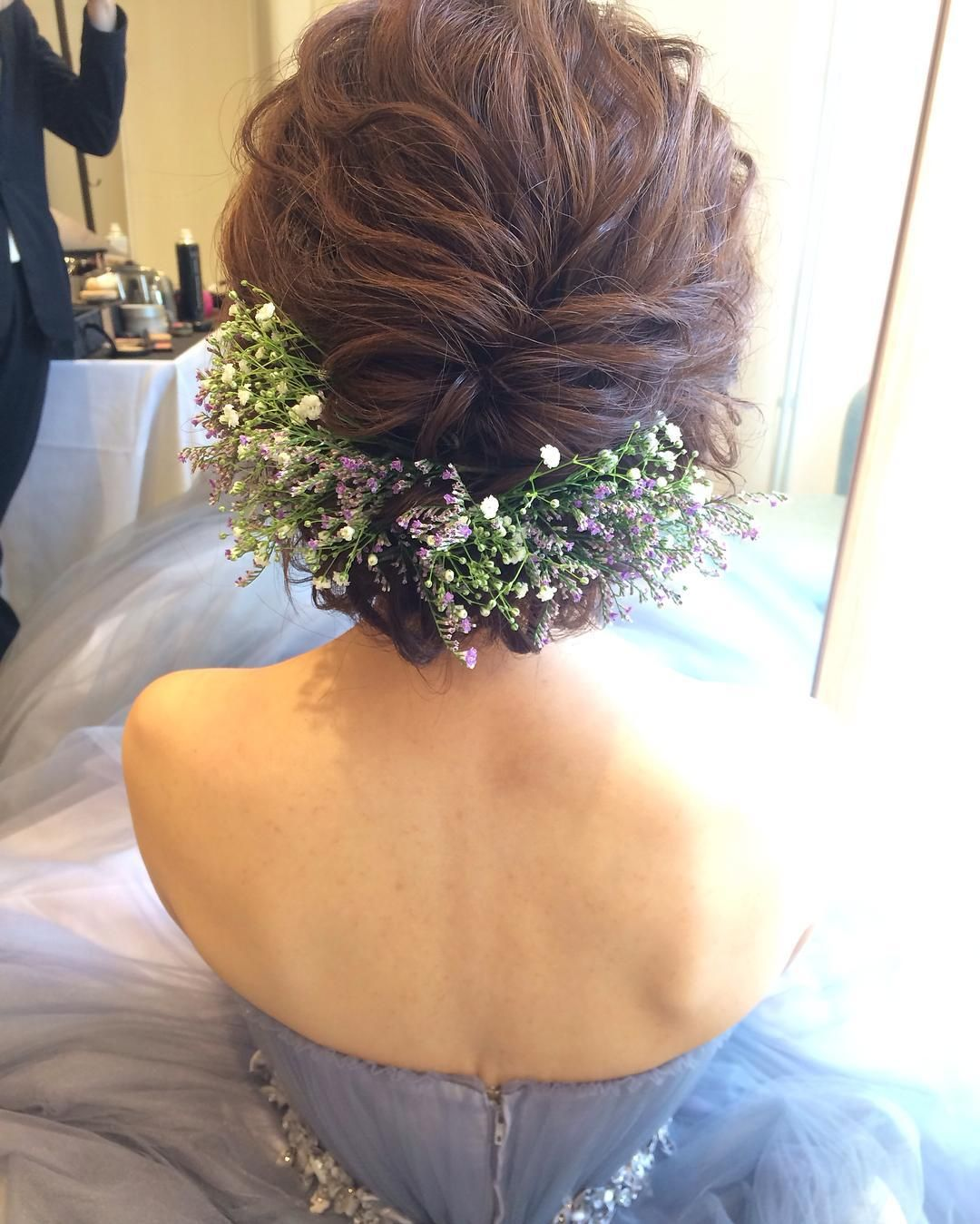 Weddinghairウェディングヘアかすみ草 メゾンプルミエール アップ