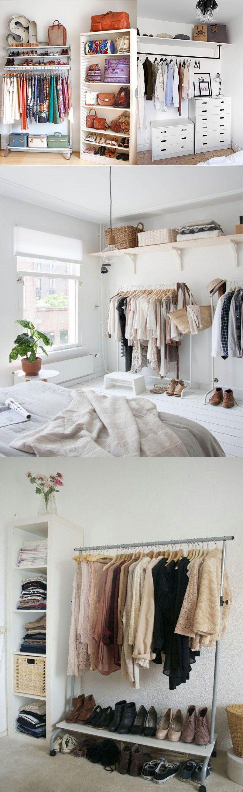 Closet Muitas Ideias Pra Montar O Seu Closet Pequeno Closet E  ~ Diy Decoração Quarto Feminino E Quarto Pequeno Com Closed