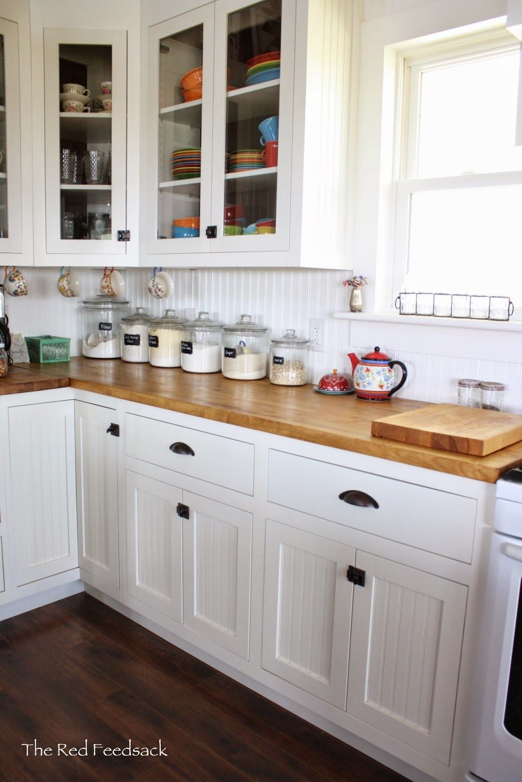 The red feedsack update on butcher block countertops ikea birch treated with dark tung