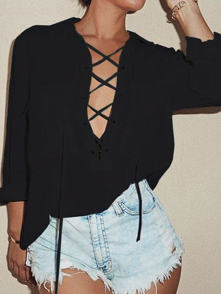 Black Lapel Lace Up Pockets Blouse 12.02